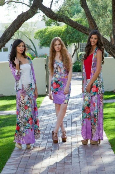 models maureen, hanna, and kristen wearing the allie ollie ensemble line launching june 1
