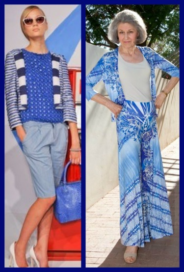 fashion designer alice and olivia and allie ollie ensemble line side by side comparison looks