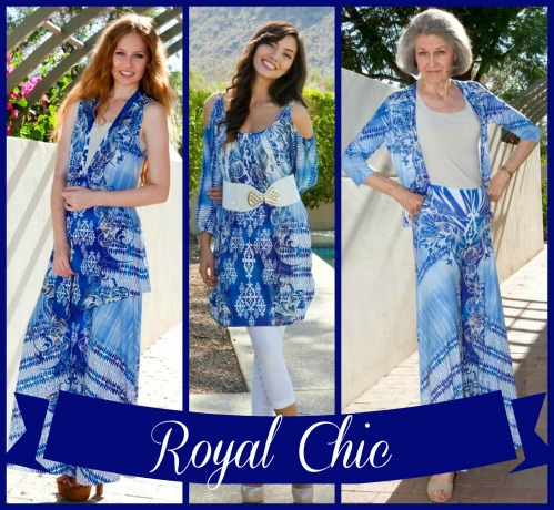 collage of head to toe looks from allie ollie ensemble collection entitled royal chic