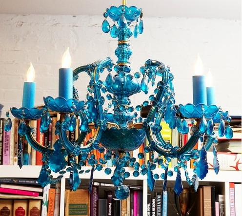painted blue chandelier for Allie Ollie Style Blog Fall 2013 Mood Board Inspiration