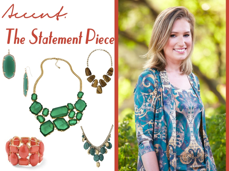 Collage of accessories to pair with Allie Ollie Emerald Elegance Collection from Fall 2013