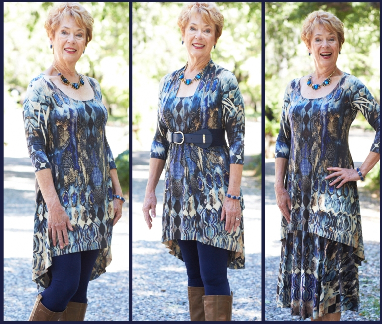 Allie Ollie Night Sky High Low Tunic styled three ways on one model