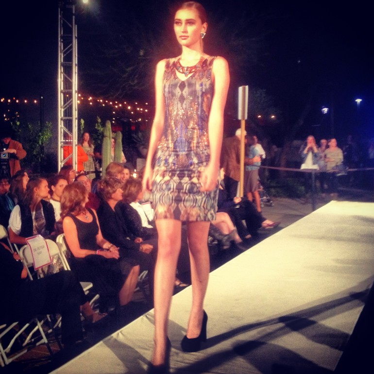 Designer Allie Olson's hot little number in night sky at tucson fashion week