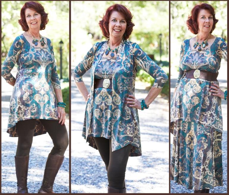 Allie Ollie emerald elegance three way tunic styled three ways on one model