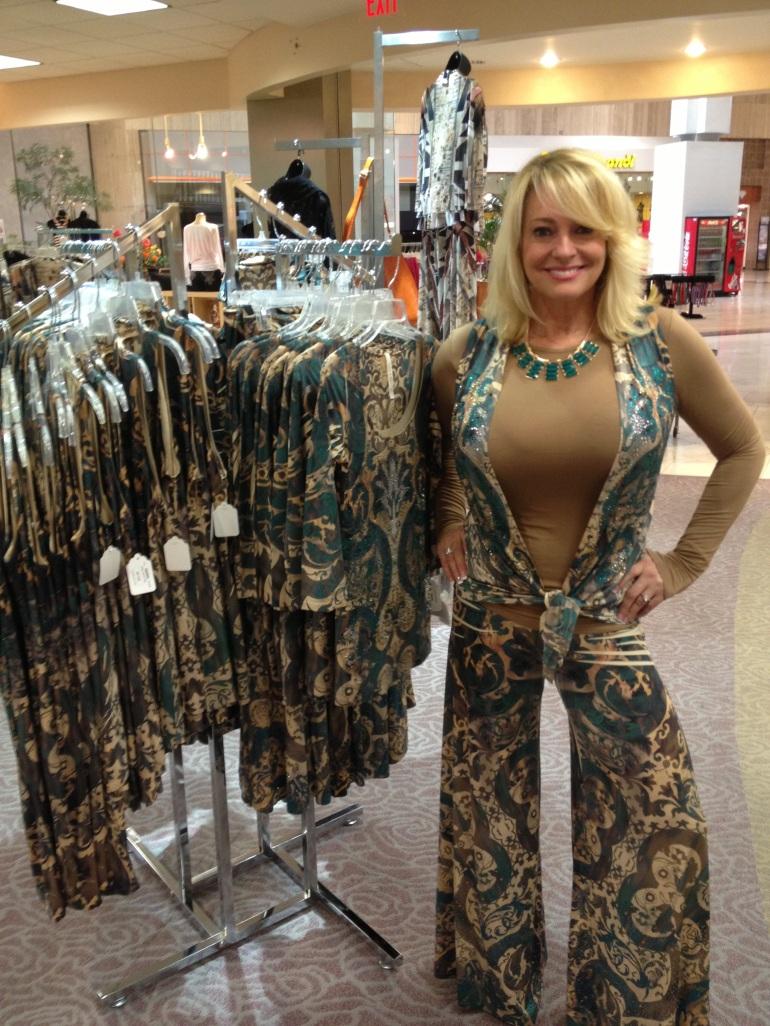 Rhonda wearing Allie Ollie Emerald Elegance Flyaway Vest and Palazzo Pant