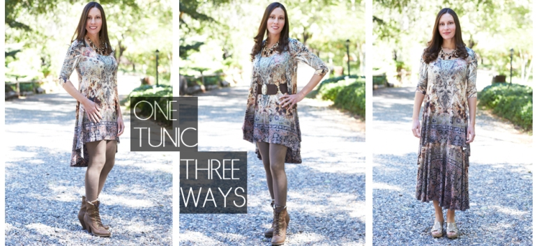 Allie Ollie Fall Romance High Low Tunic styled three ways on one model