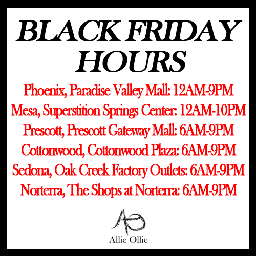Allie Ollie Black Friday Hours for all 6 Boutique Locations