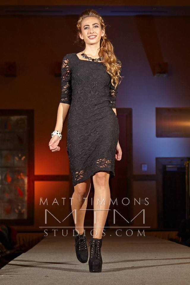 Black Lace Dress Walking the Runway in Santa Fe Fashion Week for Allie Ollie