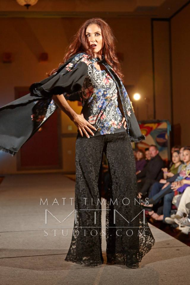 Bobbi Jean Olson wearing cape in Allie Ollie fashion show for Santa Fe Fashion Week