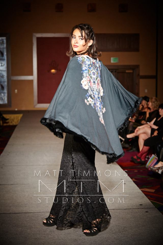 Allie Ollie Custom Cape Spin on Runway at Santa Fe Fashion Week