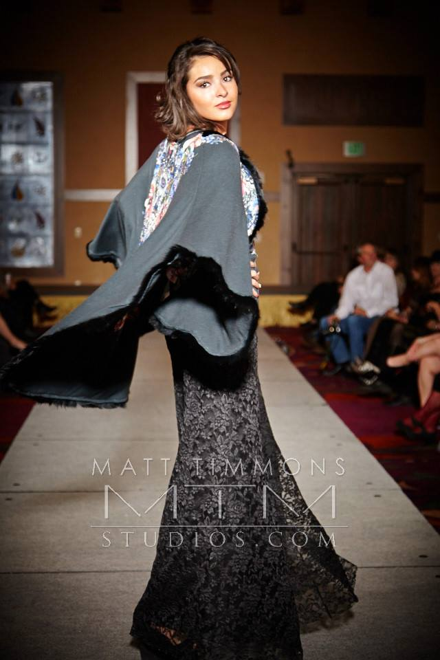 Model spinning Allie Ollie custom cape at Santa Fe Fashion Week