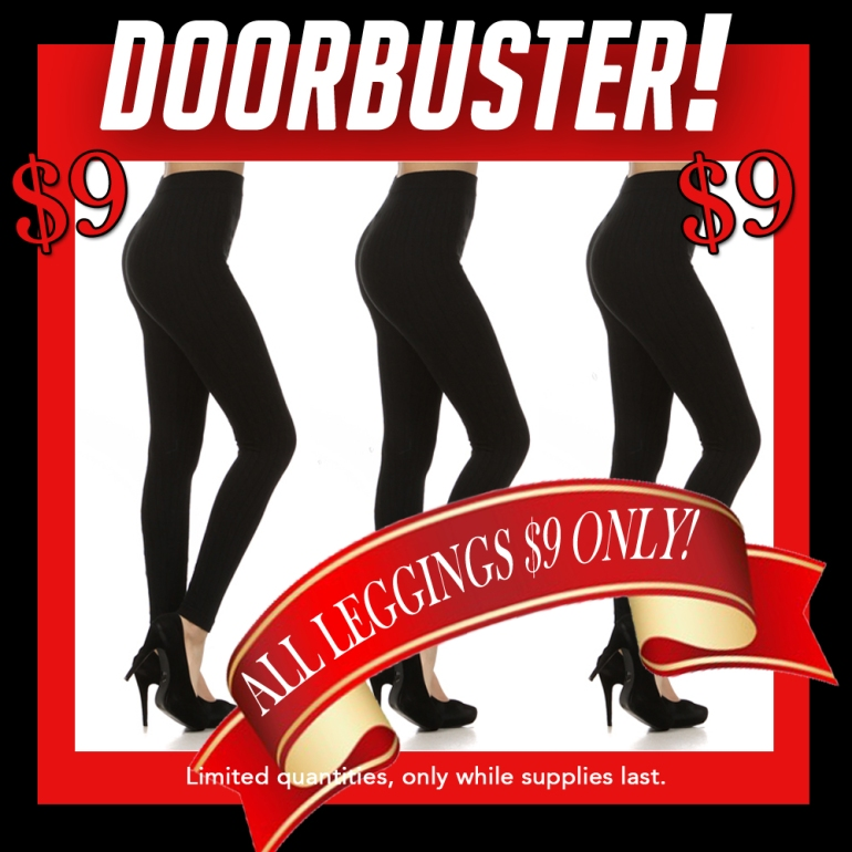 Doorbuster-$9 Leggings only at Allie Ollie on Black Friday