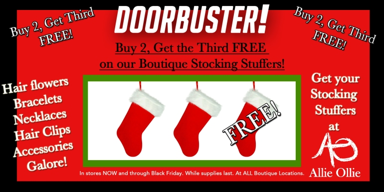 Doorbuster-Buy2, Get 3rd free at allie ollie