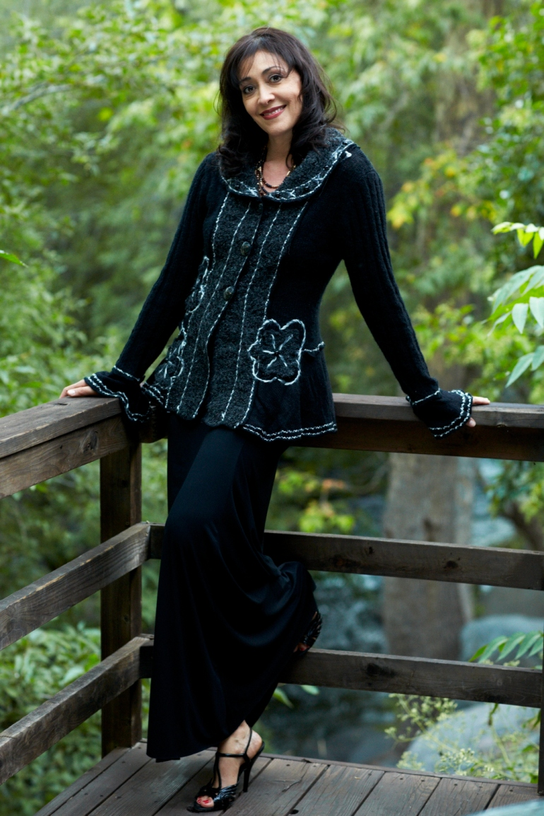 Steampunk sweater with black maxi dress from Allie Ollie