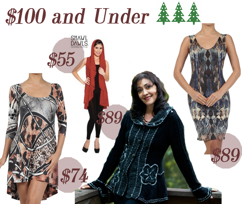$100 and Under Holiday Gift Guide from Allie Ollie including high low tunic, shawl dawl, steam punk sweater, night sky hot little number