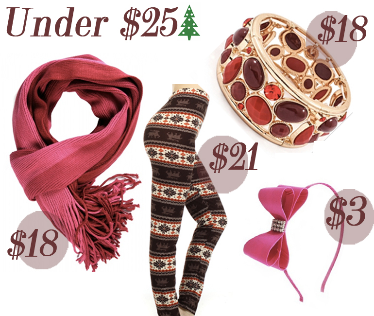 Under $25 Holiday Gift Guide from Allie Ollie including scarf, leggings, bracelet, headband
