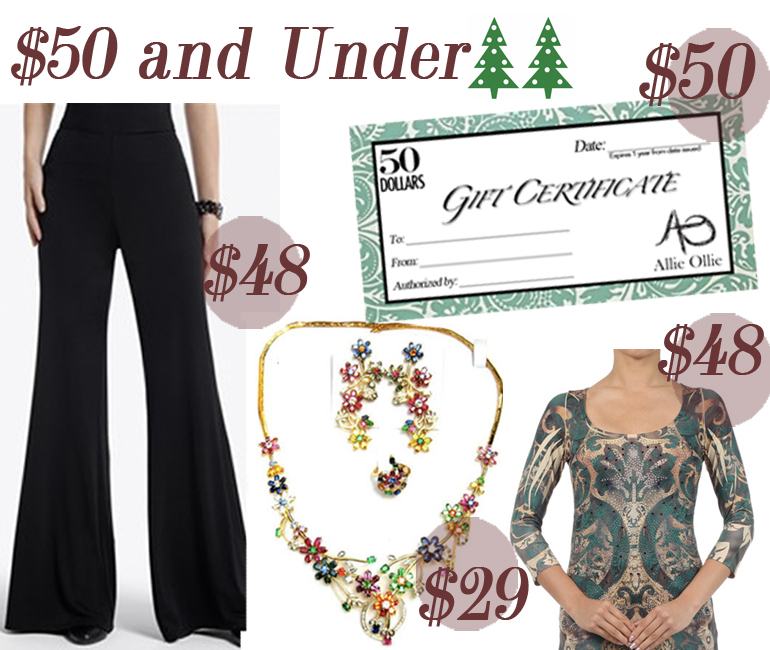 Under $50 Holiday Gift Guide from Allie Ollie Palazzo Pant, Jewelry Set, Emerald Elegance Three Quarter Length Sleeve Tee, and $50 Gift Certificate