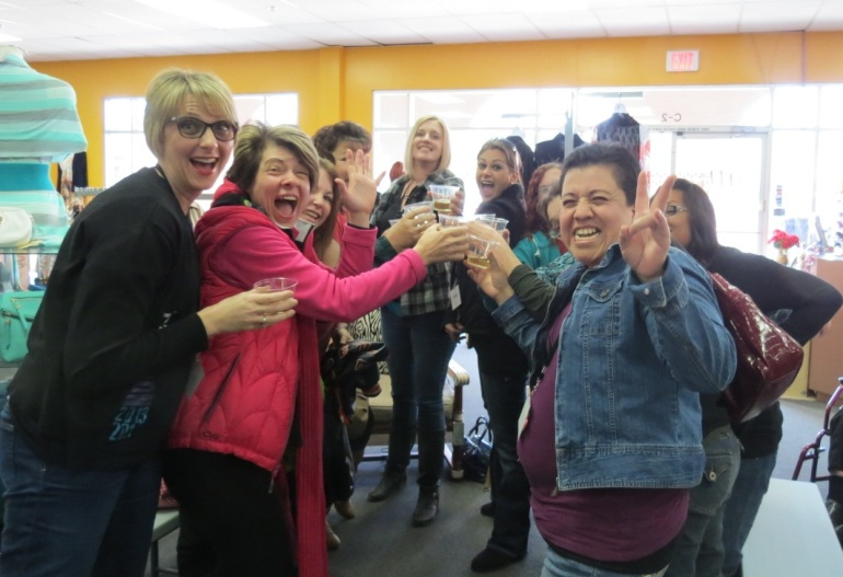 Moms from Camp Soaring Eagle Toasting at Allie Ollie Boutiques
