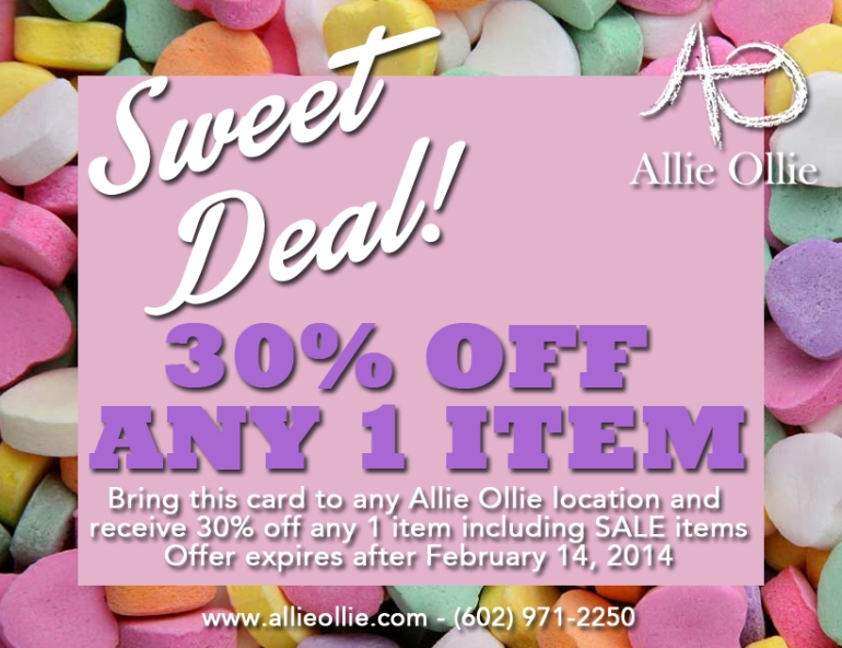 Allie Ollie Sweet Deal 30% off postcard