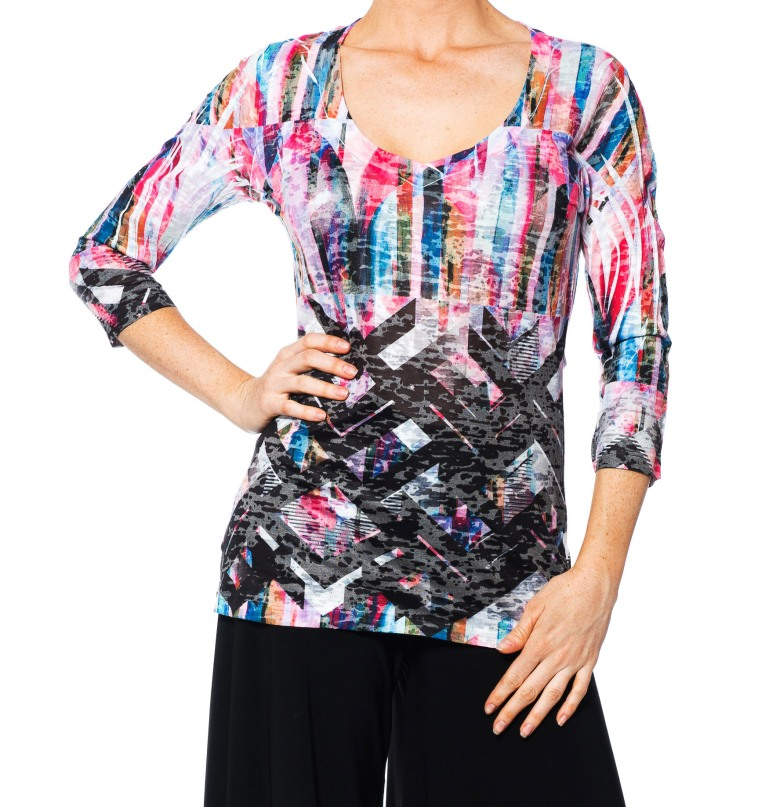 Allie Ollie Floral Block Stripes 3/4 Sleeve Tee