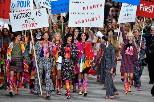 "Chanel's 2015 ""MAKE LOVE NOT WAR"" Themed show."