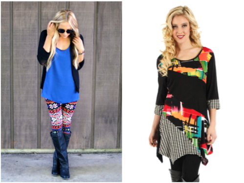 Pair print leggings with solids and vice versa with printed tunics.